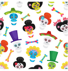 seamless pattern with colorful skulls and bones vector image