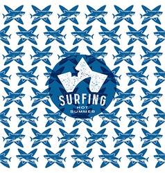 Shark surfing seamless pattern and emblem vector