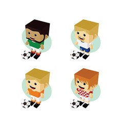 soccer player isometric cartoon set vector image