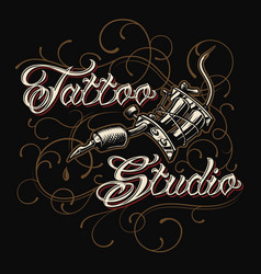 tattoo studio emblem with tattoo machine vector image vector image