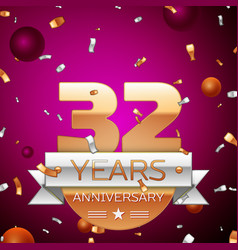 Thirty two years anniversary celebration design vector