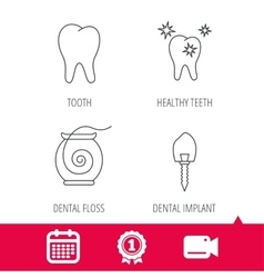 Tooth healthy teeth and dental implant icons vector