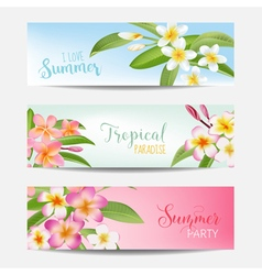 Tropical banner set tropical flowers card vector