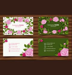Two design of businesscard with pink roses vector