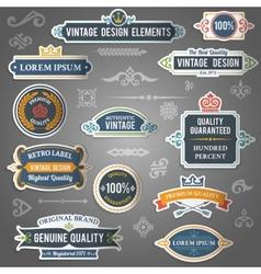 Vintage design elements stickers vector image