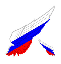 Wing with flag of russia on white background vector