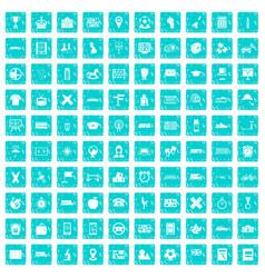 100 bus icons set grunge blue vector