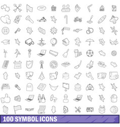 100 symbol icons set outline style vector