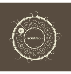 Astrology symbols in circle scorpion sign vector
