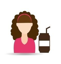 character girl soda coffee icon graphic vector image
