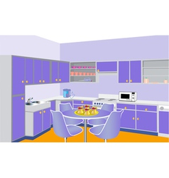 furniture on kitchen by lilac set modern vector image