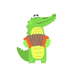 Crocodile playing accordion humanized green vector