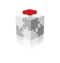 Cube puzzle grayscale with a red piece vector