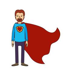 Color image caricature full body super dad hero vector