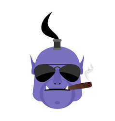Evil genie with cigar aggressive magic character vector