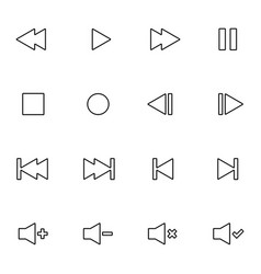 Set of audio video control line icon vector