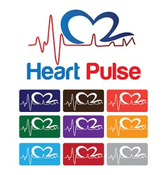 Heart pulse logo vector