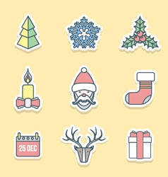 Various christmas outline labels icons set vector