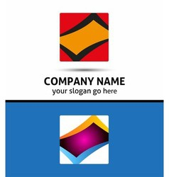 Rectangular logo and square abstract icon vector