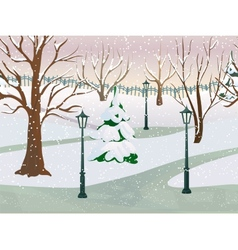 Winter park landscape vector