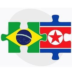 Brazil and korea-north flags vector