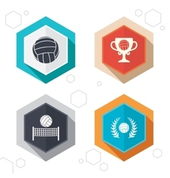 Volleyball and net icons winner award cup vector