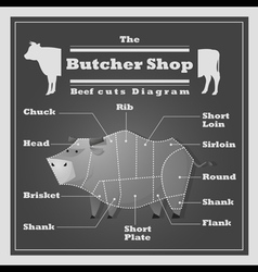 Beef cuts diagram butcher shop background vector