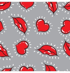 Seamless background lips and hearts print vector