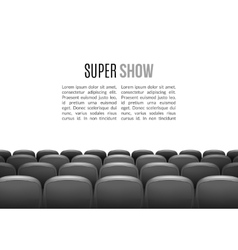 Movie theater with row of gray seats Premiere vector image