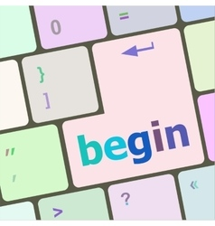 Begin word on keyboard key notebook computer vector