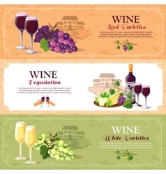 Wine degustation horizontal banners vector