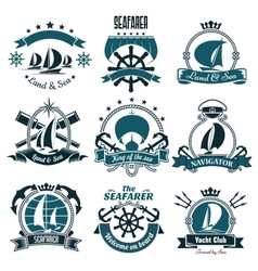 Marine icons for sailing sport sea travel design vector