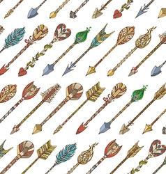 Seamless pattern of tribal arrows vector