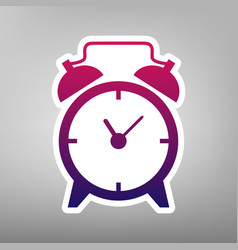 Alarm clock sign purple gradient icon on vector