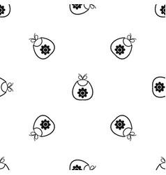 baby bib pattern seamless black vector image vector image