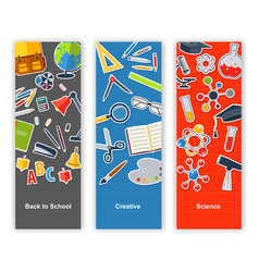 back to school set of banners concept education vector image vector image