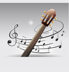 Background design with guitar and musicnotes vector