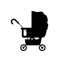 Black silhouette baby carriage with layette vector