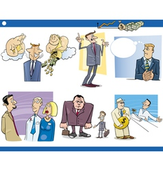business cartoon concepts set vector image vector image