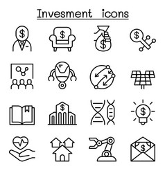 Business investment icon set in thin line style vector
