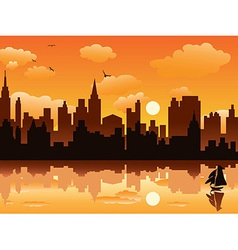 city in sunset vector image vector image