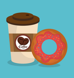 Coffee and donut delicious breakfast vector