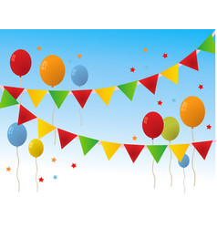 Colored happy birthday balloons banner background vector