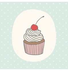 Cute greeting card with cupcake vector