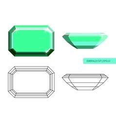 Emerald cut flat style vector