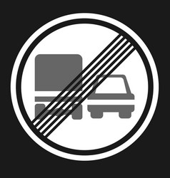 end of prohibition overtaking for trucks sign icon vector image