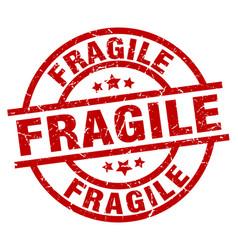 Fragile round red grunge stamp vector