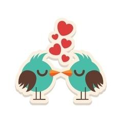 Greeting card love birds kissing happy valentine vector