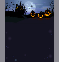 Halloween background with scary pumpkins and vector