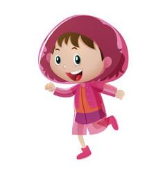 Happy girl in pink raincoat vector